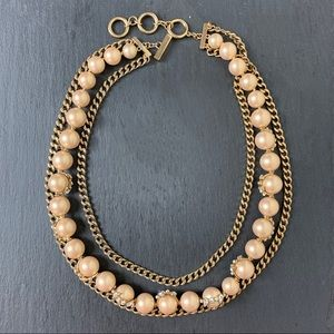 Givenchy champagne pearl, gold & diamond necklace.